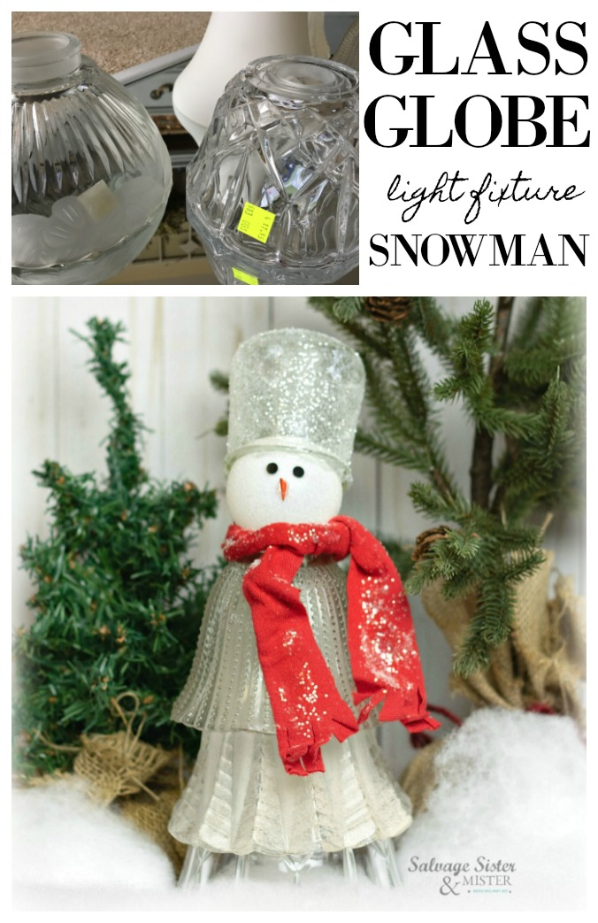 Have an old light fixture around? Wanna make a snowman? If you love to reuse, repurpose,, or upcycle items this craft project is for you. Using glass globes from old light fixtures and a Oui yogurt jar along with some craft items you have a glass globe snowman for your holiday or winter home decor. Instructions found on salvagesisterandmister.com #snowmancraft #upcycle #repurpose