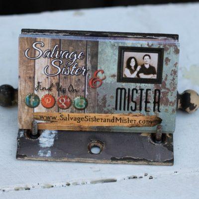 Vintage hardware becomes a hinge business card holder on salvagesisterandmister.com