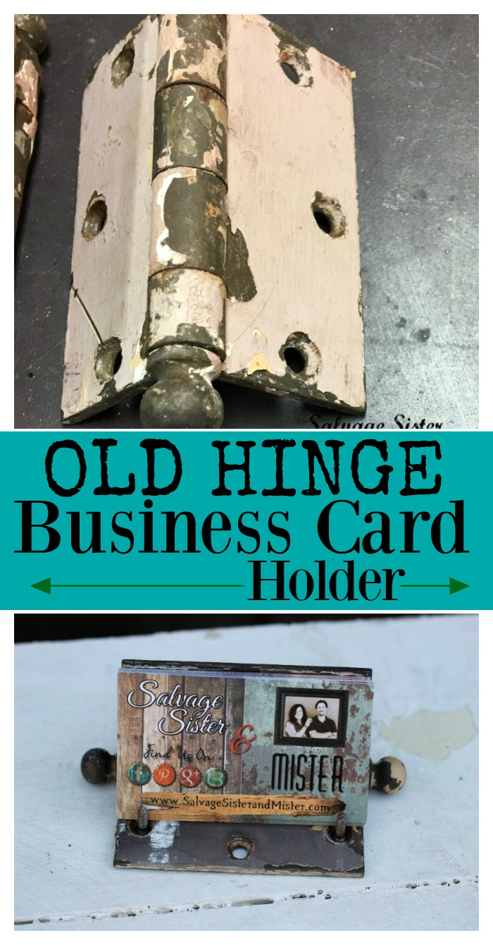Old hinge business card holder. Fun use of vintage hardware and a great way to reuse an item. #upcycle #vintage #reuse