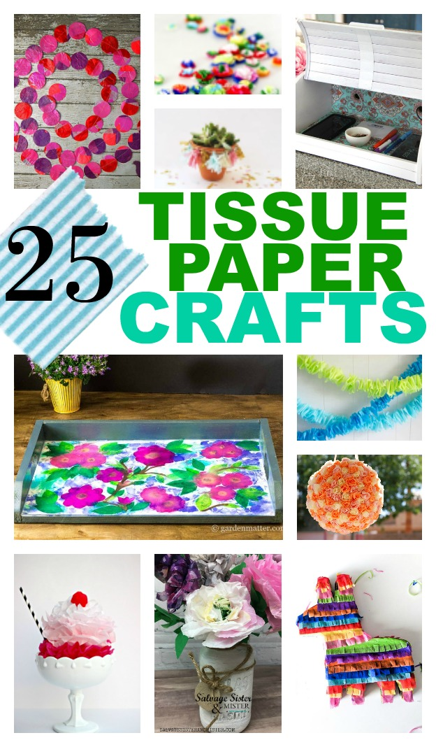 Do you collect (hoard) tissue paper leftover from parties?  Here are 25 reuse tissue paper crafts for you to use up your stash. Great repurposing - upcycling ideas.  Use in your home decor, parties, or to give as gifts.  #reuse #tissuepaper #crafts