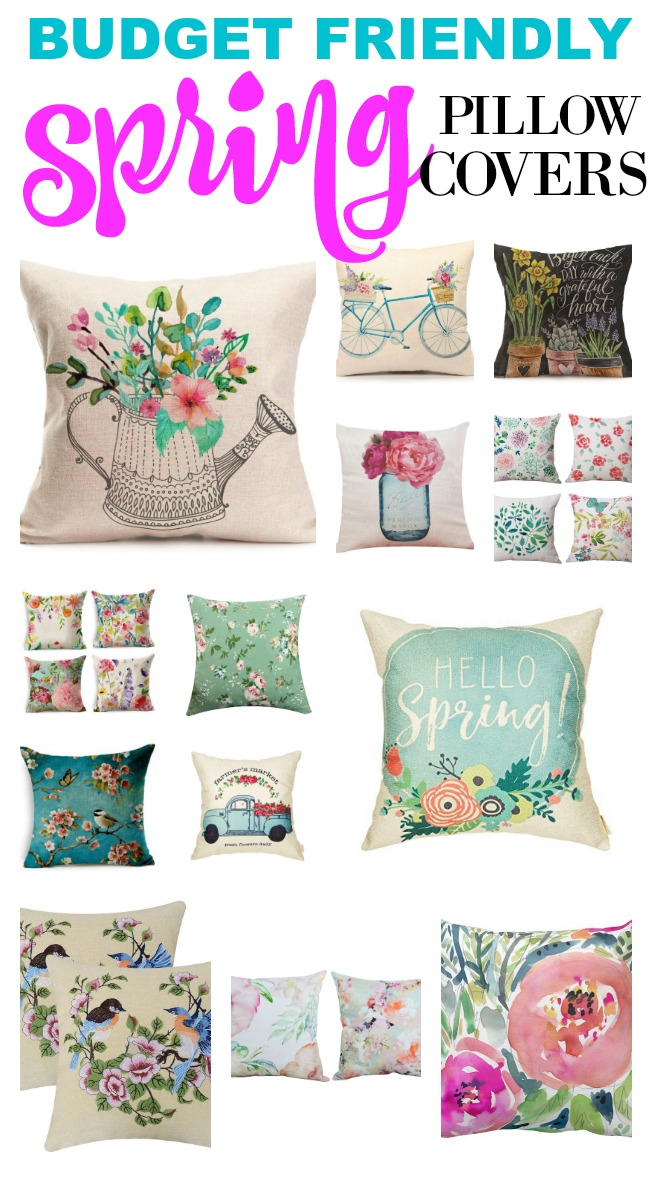 Budget friendly spring floral pillow covers for your home.  Easy to change out seasonal decor with pillow covers that take up less space.  #homedecor #pillowcovers #springdecor