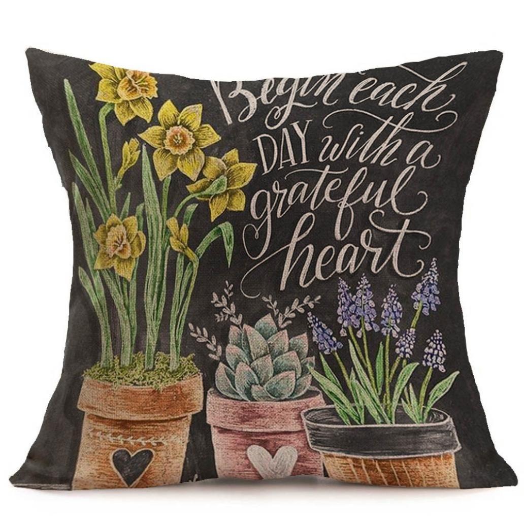 Garden spring chalkboard script looking pillow cover grateful heart affiliate link