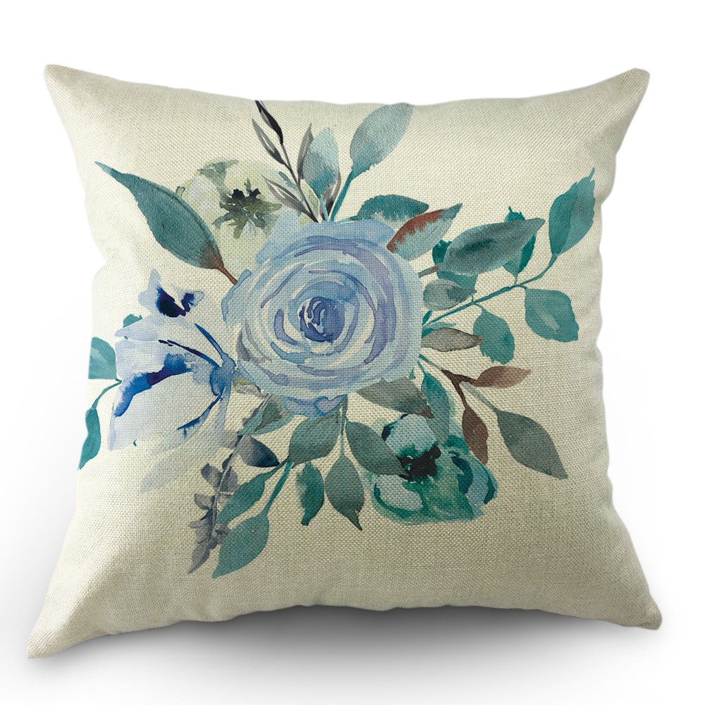 Sharing spring floral pillow covers - blue rose budget home decor items - less storage affiliate link