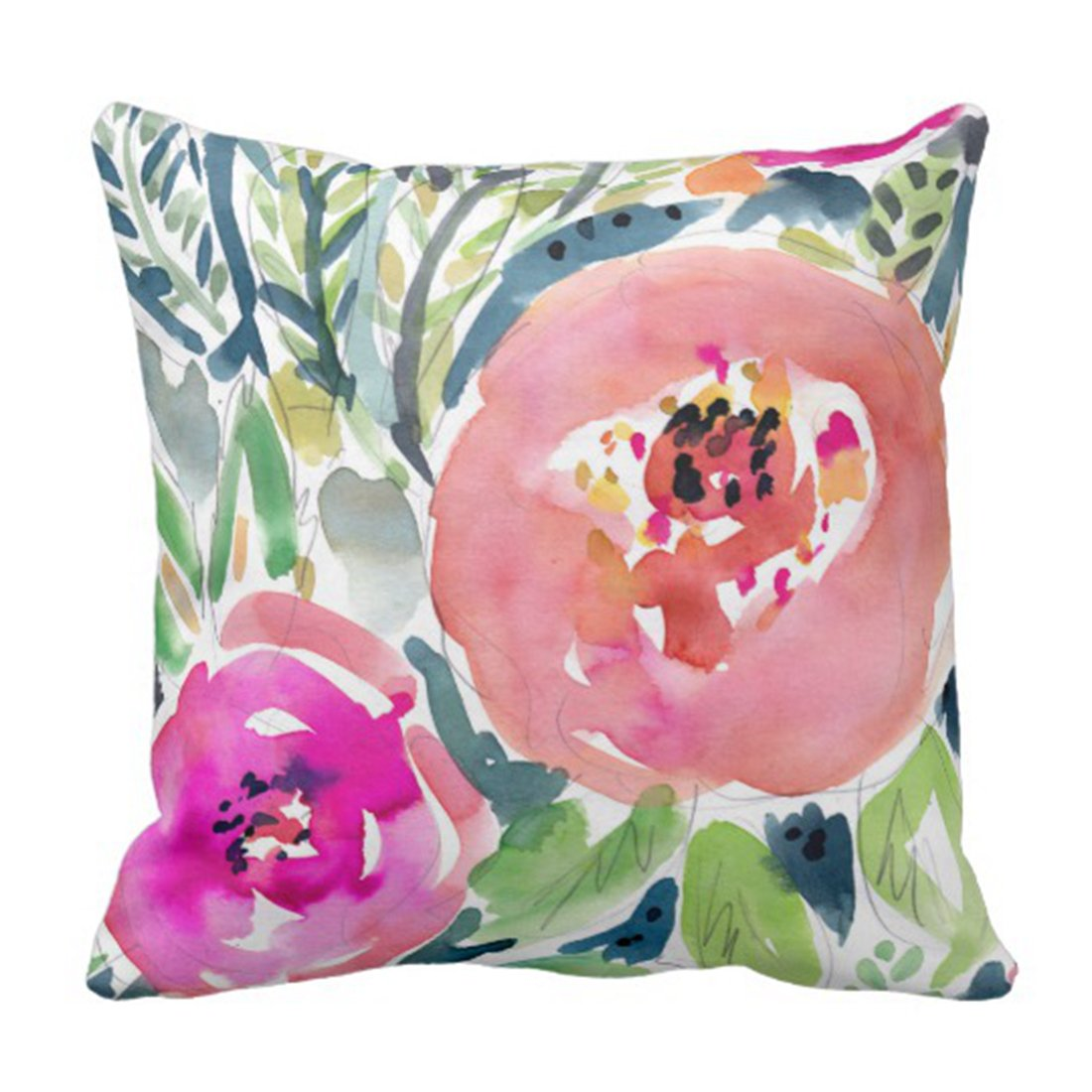 boho watercolor spring floral pillow cover for budget friendly home decor affiliate link