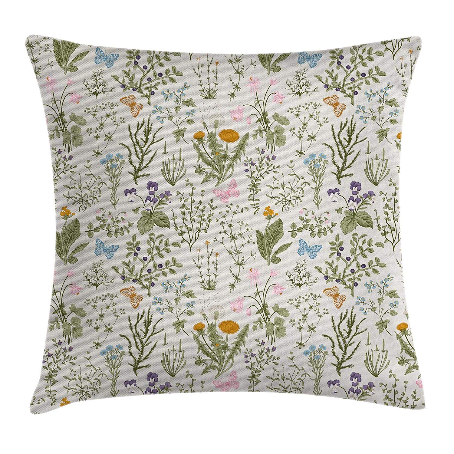 Vintage Garden plants and herbs botanical spring pillow cover affiliate link
