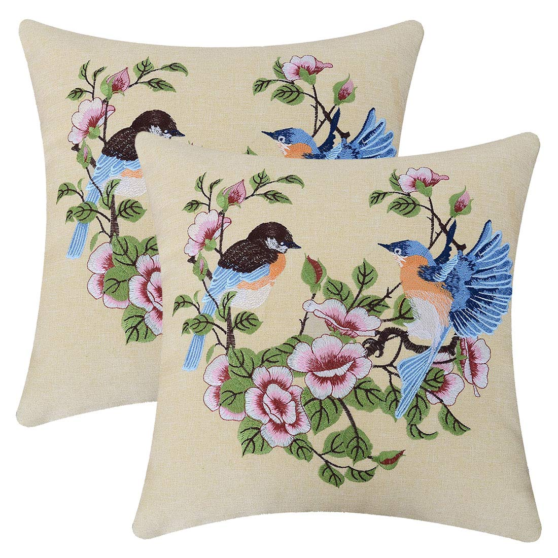 Embroidered bird and floral spring floral pillow cover for your home aff link