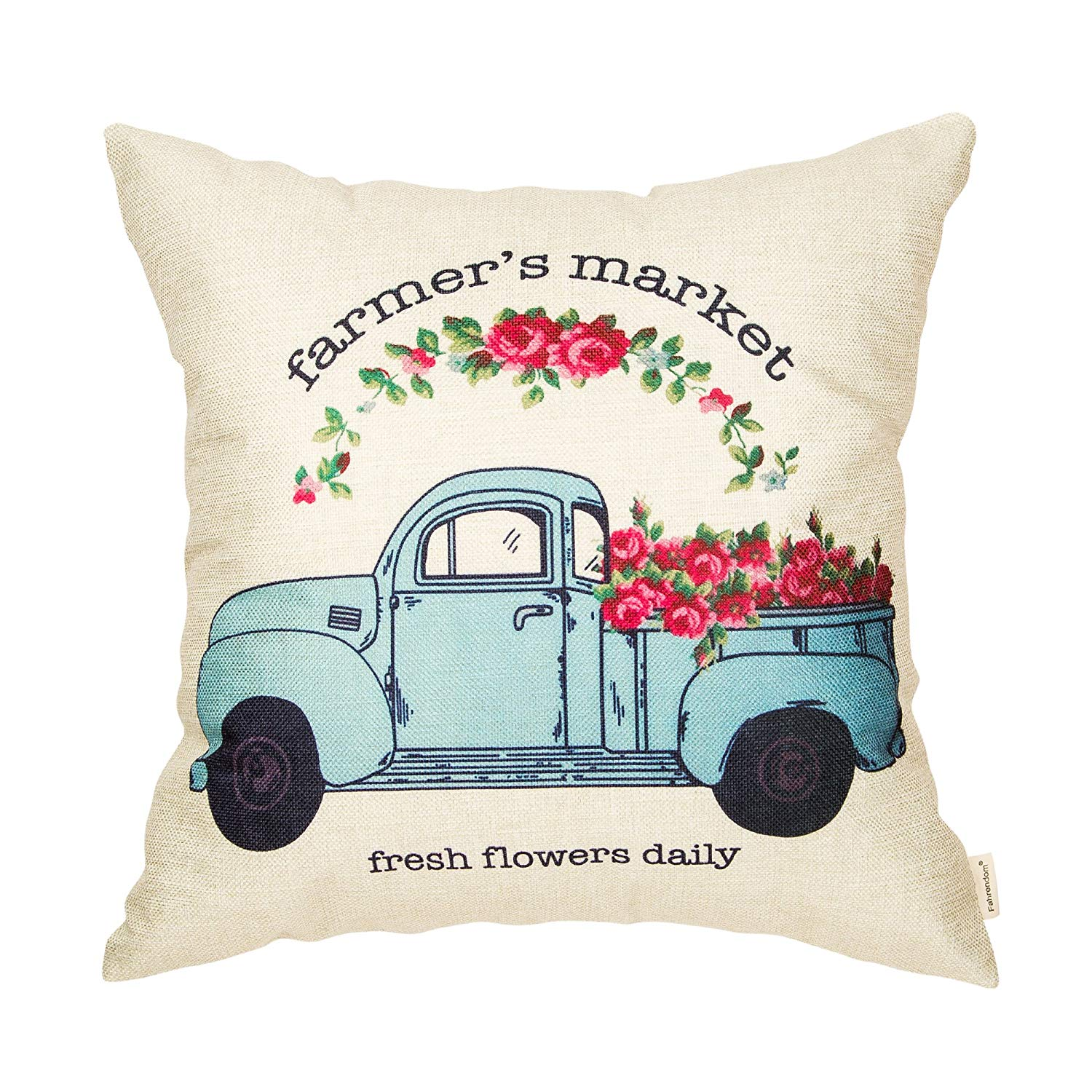Farmer's Market farm truck with flowers spring floral pillow cover budget friendly home decor item affilaite link