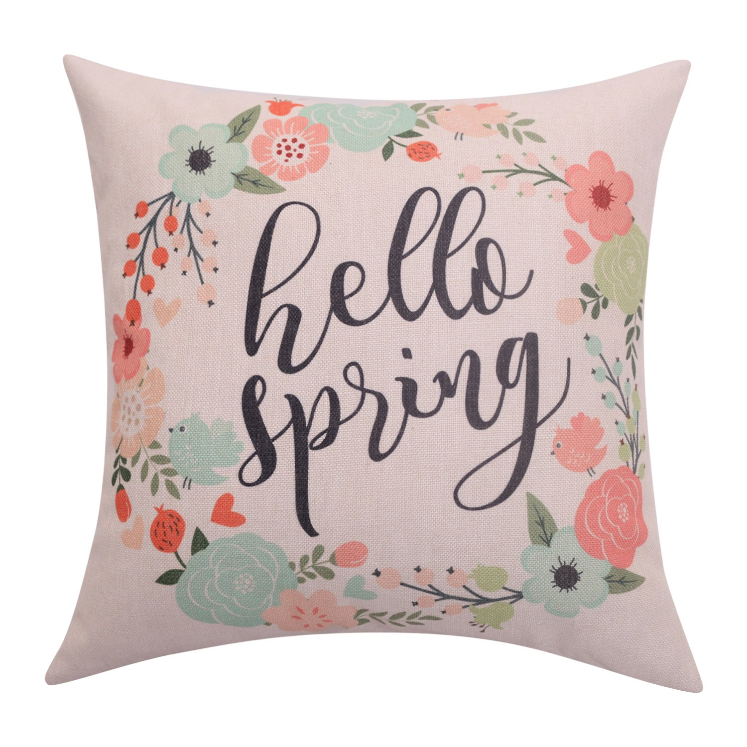 Hello Spring watercolor pillow cover with flowers affilaite link