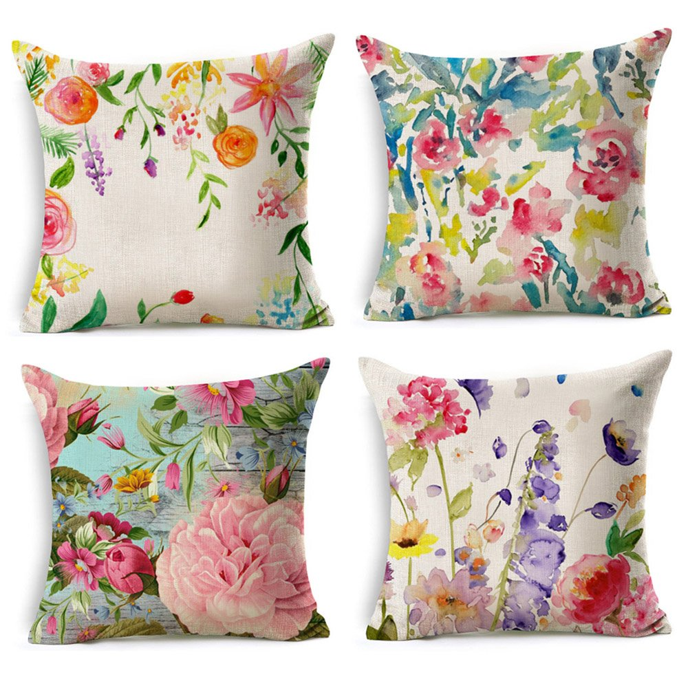 Spring floral pillow covers set of 4. budget friendly home decor - watercolor look -floral design affiliate link