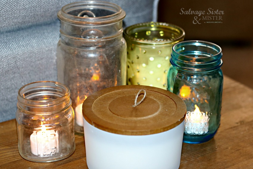 mason jars and candles are inexpenisve home deocr on salvagesisternadmister.com
