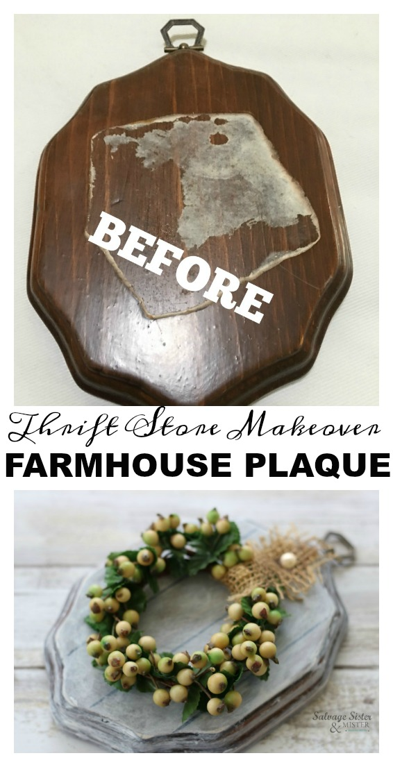 Thrift Store Transformation - DIY Farmhouse Plaque from an old thrift store plaque. Great repurpose, upcycle, reuse project. Easy to make some faux shiplap and create a perfect simple additiona to your fixer upper or farmhouse style home decor #Thriftstoretransformation #repurpose #upcycle on salvagesisterandmister.com