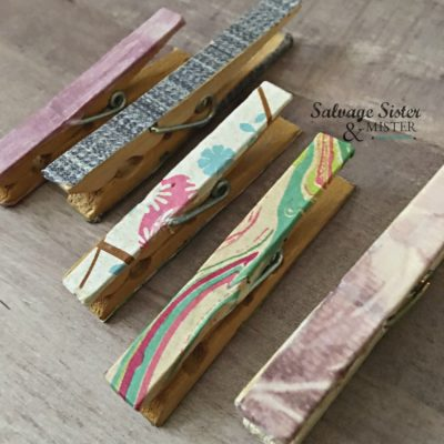 Making your own diy tissue paper washi tape to add to clothes pins and more on salvagesisterandmister.com