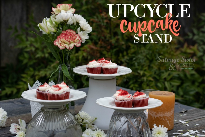 diy upcycled cupcake stand from thrifted items on salvage sister and mister