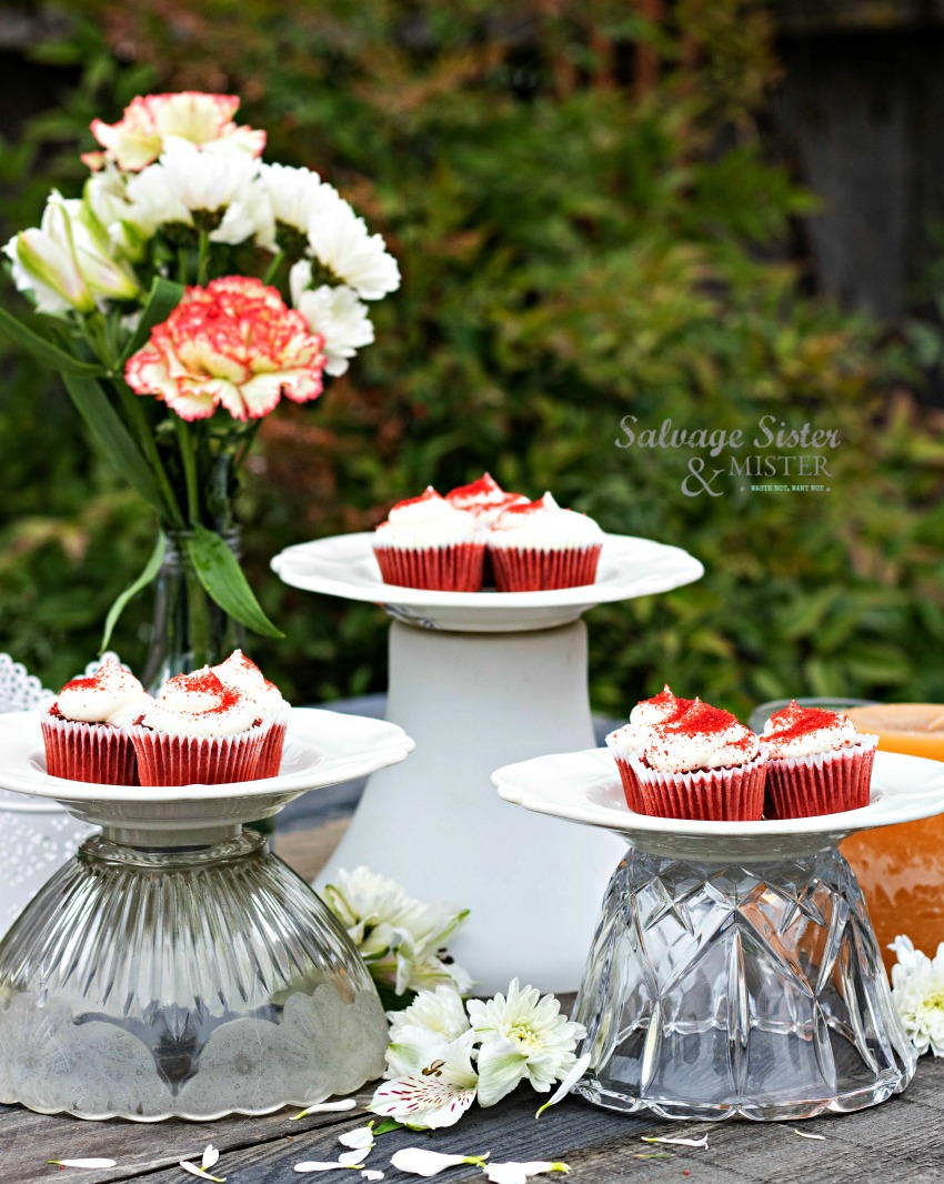 Perfect table centerpiece...diy thrifted upcycled cupcake stands from glass shades from light fixtures, easy craft and perfect for parties, showers, weddings, mother's day, brunch, etx. #upcycled #entertaining #repurposed