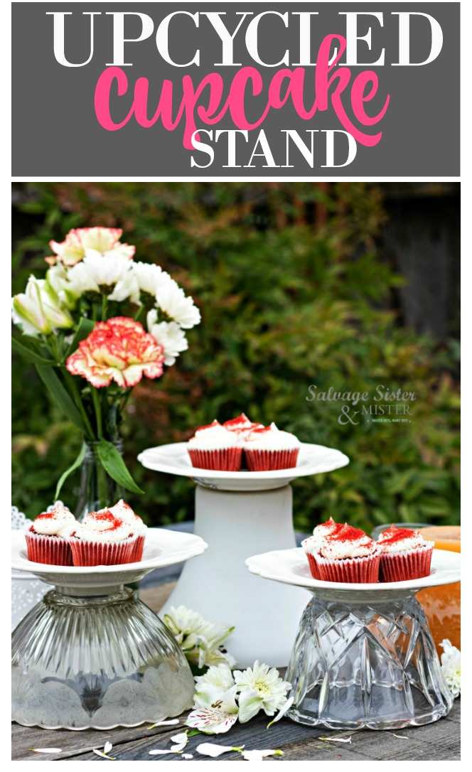 Turning old, thrifted, light fixture glass shades into diy upcycled cupcake stand. Perfect for entertaining, parties, weddings, showers, and more. easy DIY / craft project #repurposed #reuse #upcycled