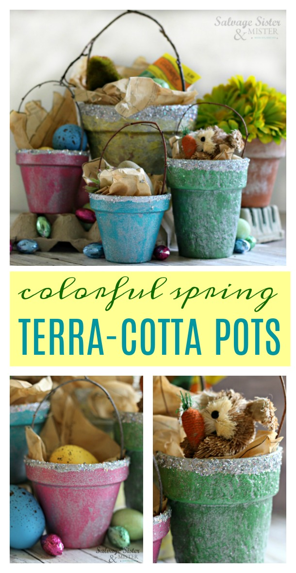Simple spring or Easter craft - Colorful Spring Terracotta Pot Basket - fun for your home decor, a spring gift, or as a place setting for your tablescape. We used thrifted pots here to add a spring touch. These are inexpensive holiday decor #eastercraft #springcraft #reuse