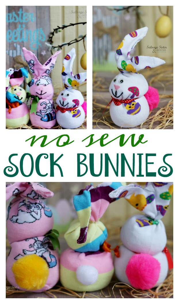 With a leftover sock you can create this easy craft - no sew sock bunny. Great reuse, repurose, or upcycle craft. Great for kids and adults. Fun easter decor item to make. Details on salvagesisterandmister.com