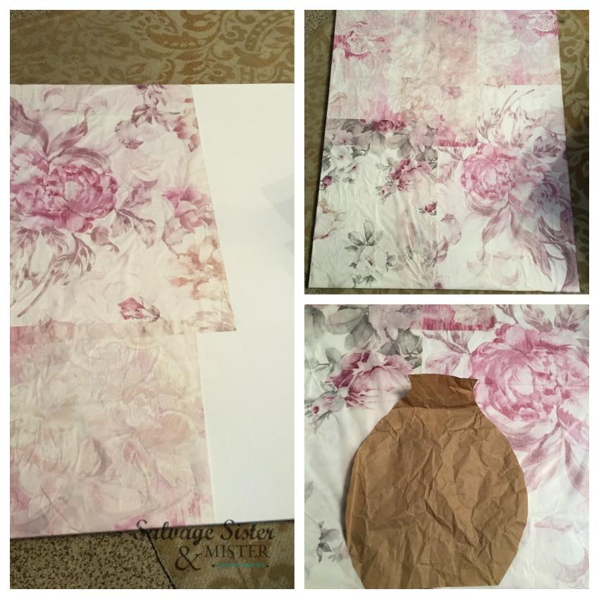 tissue paper canvas art on salvagesisterandmister.com