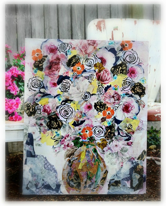 tissue paper canvas wall art using leftover paper salvagesisterandmister