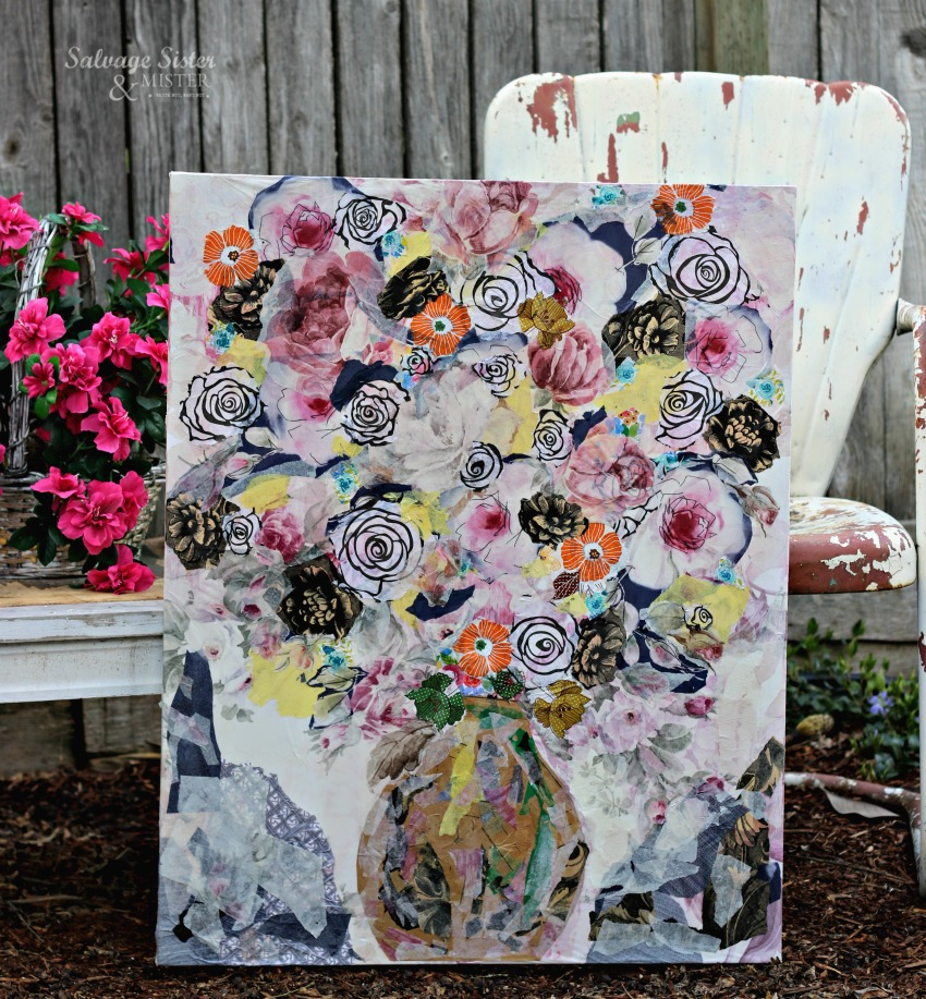 Turning leftover tissue paper into wall art. DIY some fun decor and create a faux painting wiht this tissue paper canvas art project #crafts #diy #reuse
