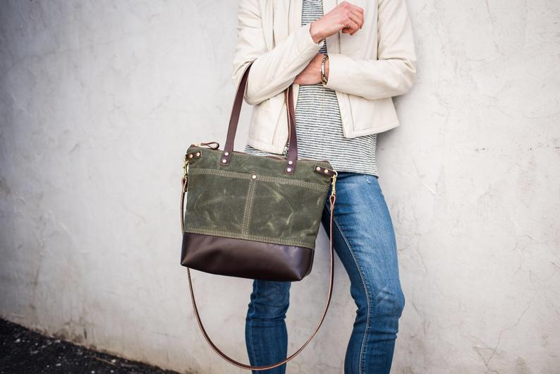 waxed canvas handmade bag - unique mother's day gift ideas - affiliat elink