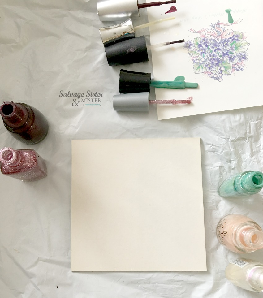Create nail polish pour art with expired or leftover nail polish diy craft on salvagesisterandmister.com