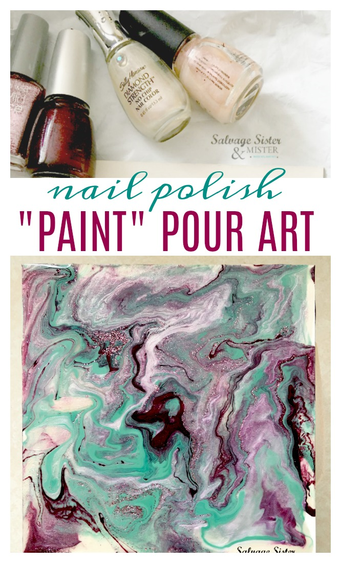 REPURPOSE or REUSE CRAFT - nail polish pour art. This is a great way to use up old or expired leftover nail polish. make gifts, create your own decor, or do a fun party item with this craft. Dirty pour technique using up an item so you don't toss it. #reuse #salvagesister #paint
