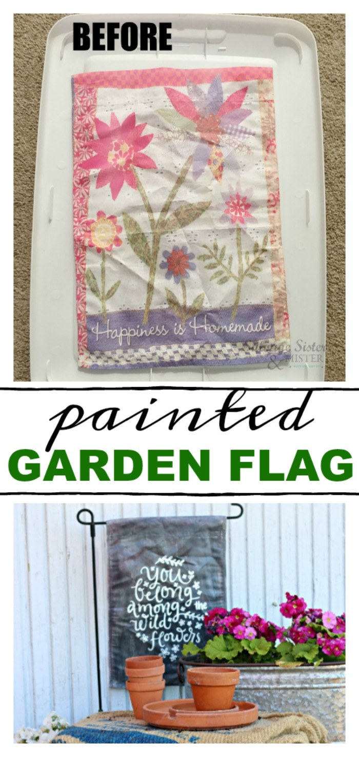Can you paint an old garden flag?  Yes, yes you can.  Here is a tutorial on how to do do just that and reuse it.  This easy craft is a great way to ensure it doesn't just get tossed.  Make it the way you want it to look like farmhouse style.  This was done as a chalkboard look.  Find all the details on salvagesisterandmister.com #reuse #craft #diy