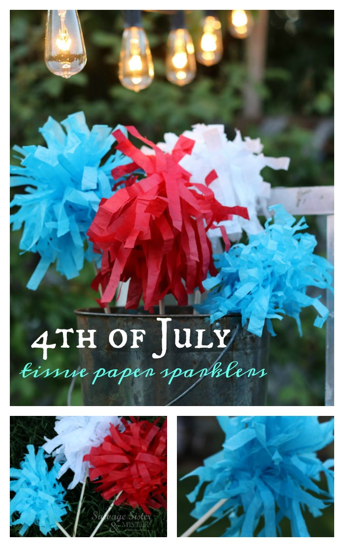 Don't toss that old tissue paper.  Reuse it in this craft.  4th of July tissue paper sparklers are safe for kids to use and pretty table decor.  Not only is this a budget friendly decor item but it's a great way to waste less and repurpose more.  Find the details on this diy craft project on salvagesisterandmister.com #reuse #patriotic #craft
