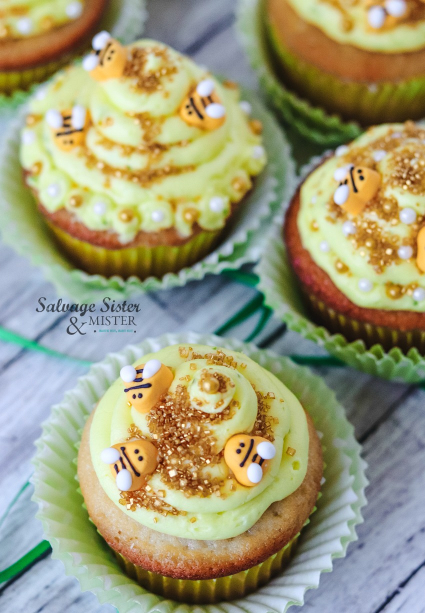 lemony beehive cupcakes - recipe on salvagesisterandmister.com