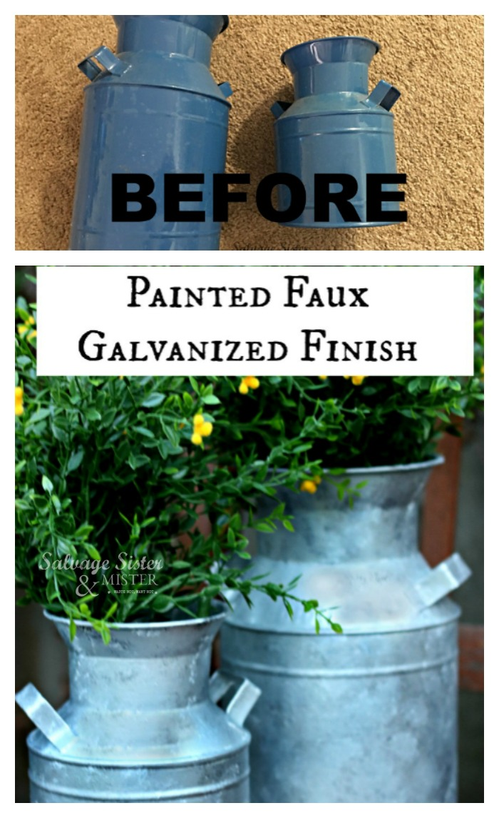 How to: Painted Faux Galvanized Finish.  This is a great way to update old items or thrift store finds.  Great for a famhouse or fixer upper feel.  Fun way to transform an item into a whole new look.  This diy project is easy and you can find the full tutorial on salvagessterandmister.com