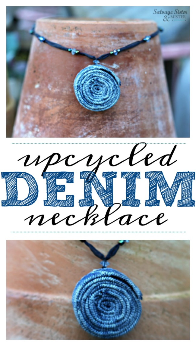 What to do with old jeans? Here is an upcycled denim necklace that you can make easily. This is a great reuse / repurpose idea to make use of jeans you no longer wear. waste not, want not. #upcycle #reusecraft #repurpose