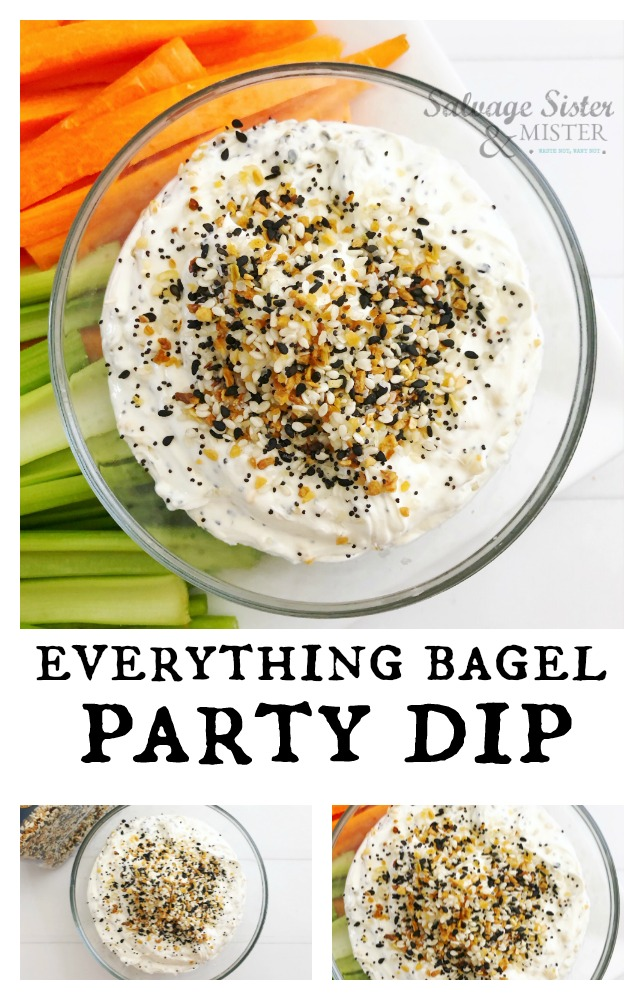You are my everything bagel. If you love the everything bagel spice combo, you will love this everything bagel party dip. It's quick to assemble and a crowd pleaser for any occasion. Get the full dip recipe on salvagesisterandmister.com