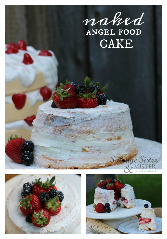 "With a store-bought angel food cake you can make this EASY strawberry and cream ""naked"" angel food cake for your celebration or party. Quick and simple to do in minutes. Recipe and instructions on salvagesisterandmister.com #easyrecipe #easydesserts"