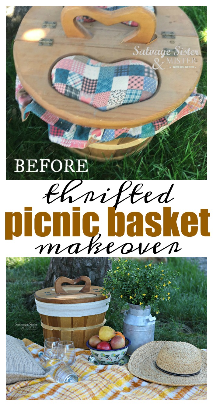 Thrifted picnic bakset makeover turns an old dated basket into something new and modern. Perfect for farmhouse style. Most times thrifted items just need a little help to give it a new life. Plus, it's a great reuse or repurpose - upcycle way to waste less. Waste not, want not. Dine al fresco with a picnic basket from the thrift store. #upcycle #thriftstorefinds #reuse