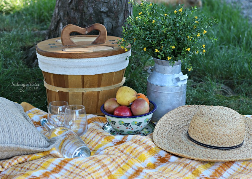 a thrifted picnic basket makeover on salvagesisterandmister.com
