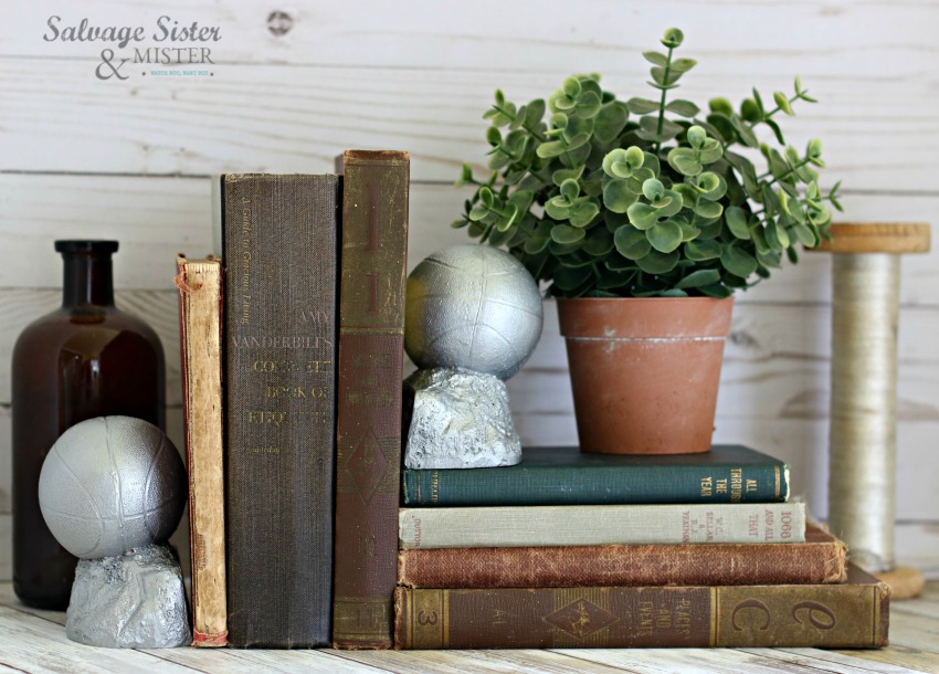 thrifty style team - turning old trophies into bookends on salvagesisterandmister.com