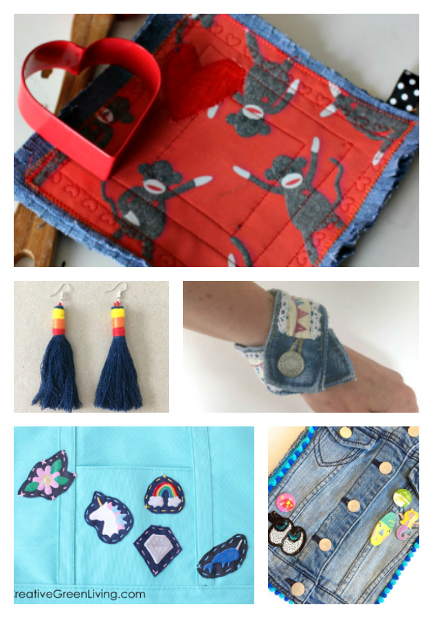 repurpose denim - 21 of the Best Upcycled Denim Ideas - accessories to make