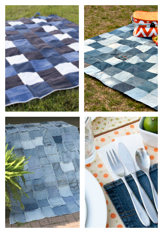 repurposed denim blankets and placemats - 21 of the Best Upcycled Denim Ideas