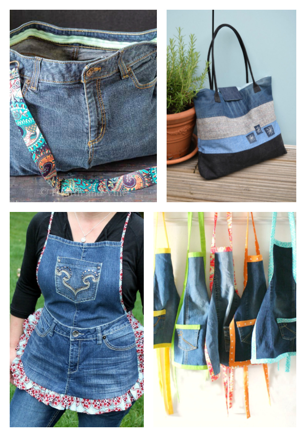 21 of the Best Upcycled Denim Ideas - denim totes and bags and aprons