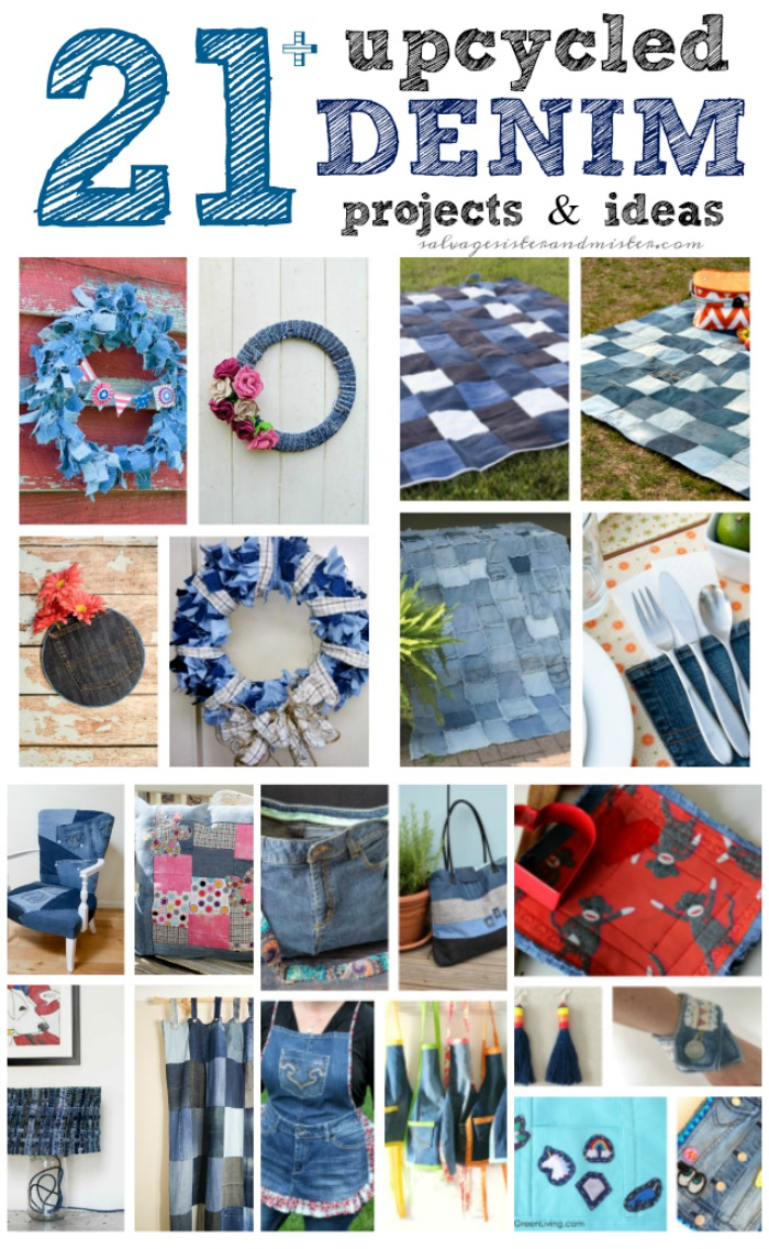 What to do when you have too many holes in your denim? Here are 21 of the best upcycled denim ideas to repurpose or reuse it. Crafts, home decor, jewelry, and more. Bonus ideas as well. More on salvagesisterandmister.com