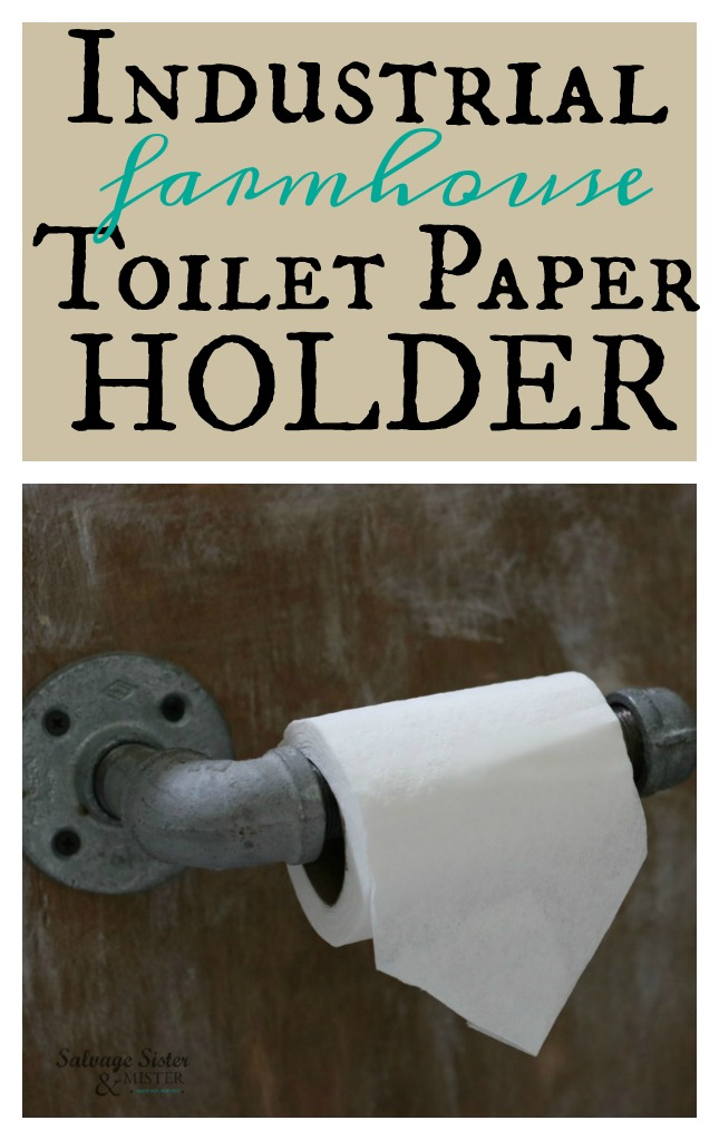 DIY PROJECT - Industrial farmhouse toilet paper holder tutorial. Budget bathroom makeover that was done for about $100 included this galvanized metal toilet paper holder that you can quickly make yourself. Find the step by step on this at salvagesisterandmister.com
