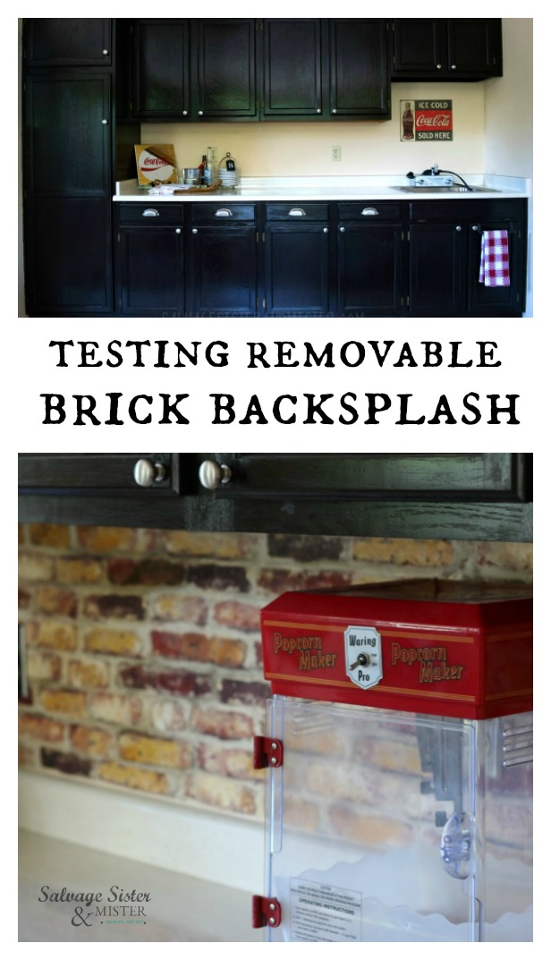 Budget friendly home decor project - peel and stick removable brick backsplash. Sharing our results and where to find. This is a great option for inexpensive home projects (remodel) , apartments, and testing design options. If you can't decide on the style, peel and stick gives you some time to live with it for awhile to see if you like it. Read more on salvagesisterandmister.com #busgetfriednly #homedecor #homedesign