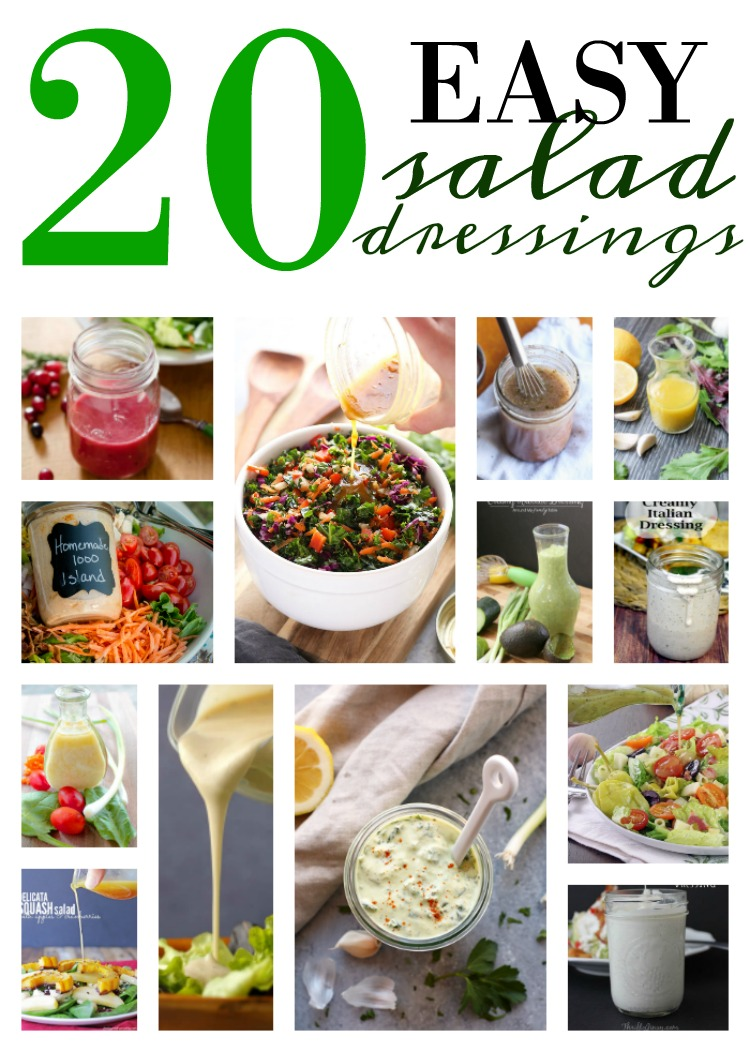 20 easy to make homemade salad dressings and vinaigrette. Great way to know what you are eating plus less plastic waste. Find these delicious recipes on salvagesisterandmister.com