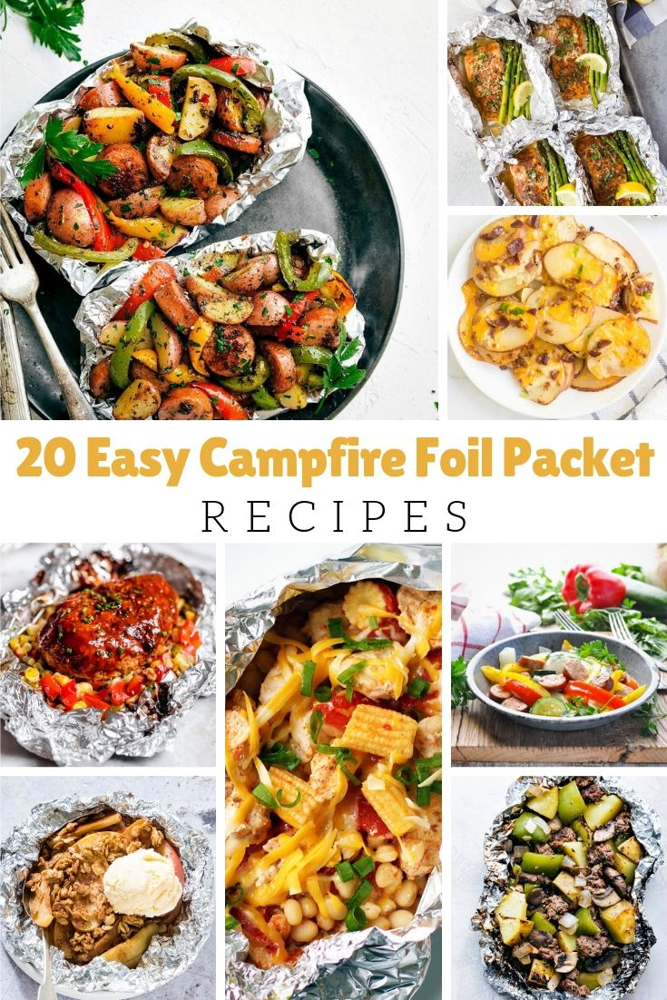 Whether you are camping out in the wilderness or just your backyard, here are 20 campfire foil packet recipes that are yummy.  Easy to prepare, less clean up, and fun for each person to have their own serving.  Make them in an over for a quick weeknight meal.  Use them on your backyard fire pit.  Try them on your BBQ.  Or use them out camping.  The choice is yours.  From breakfast to dessert and all the inbetween meals, these recipes will hit the spot