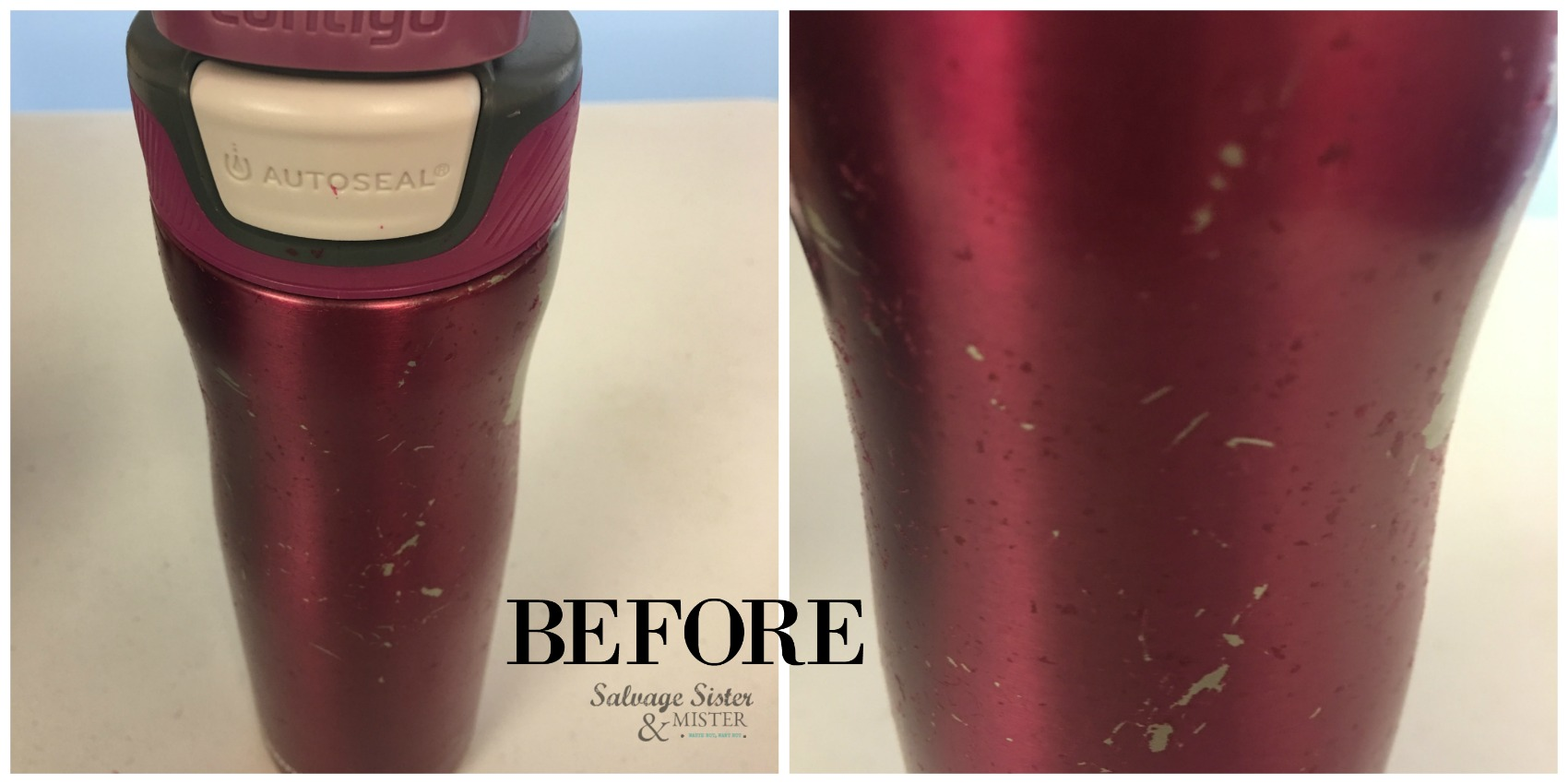 How to Remove Scratched Coating from Stainless Steel Travel Mug tutorial on salvage sister and mister blog