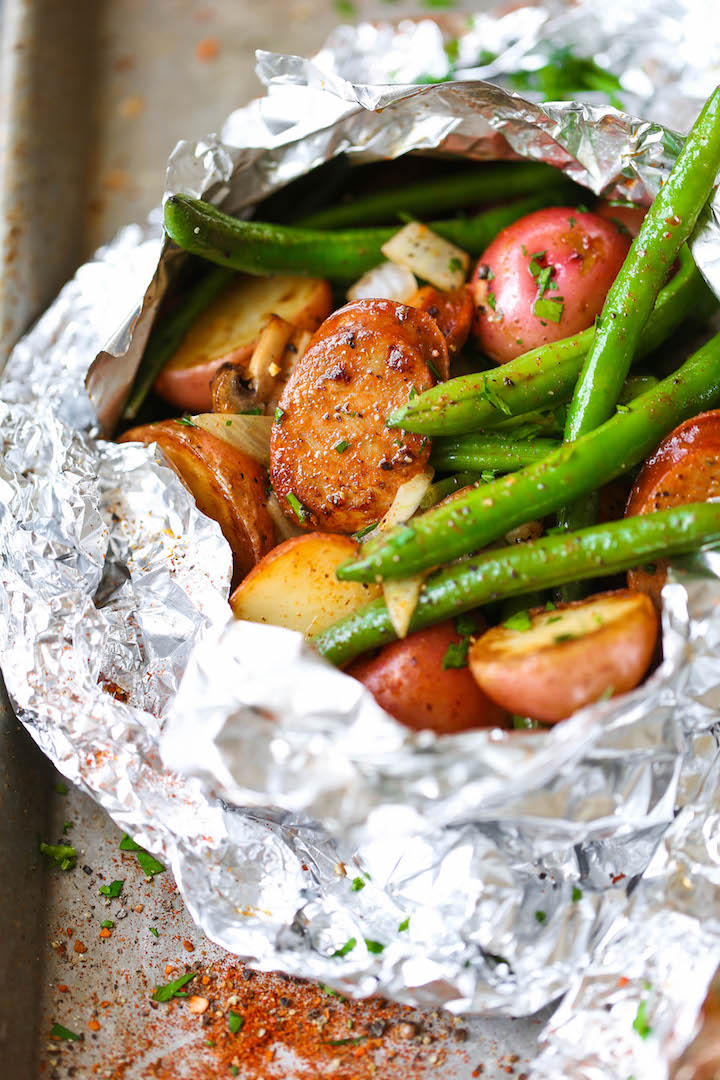 sausage potato and green beans foil packet