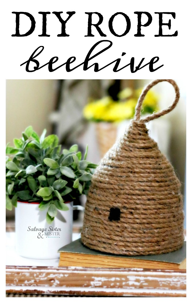Create a diy rope beehive wiht just some simple supplies.  Fun for home decor or a party.  Inspired by Magnolia Market beehives.  These are easy to make for a craft project.  Get full tutorial (instructions) on salvagesisterandmister.com