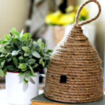 Fun DIY project - Cute Rope Beehive made with supplies on hand. Find this full tutorial on salvagesisterandmister.com. Fund home decor item or can be used for a party decoration. Love the Magnolia market ones and wanted my version which is bargain decorating when the rope was thrifted and others household items. Famrhouse decor - farmhouse style. Plus, see what I use to clean up after my crafting projects.