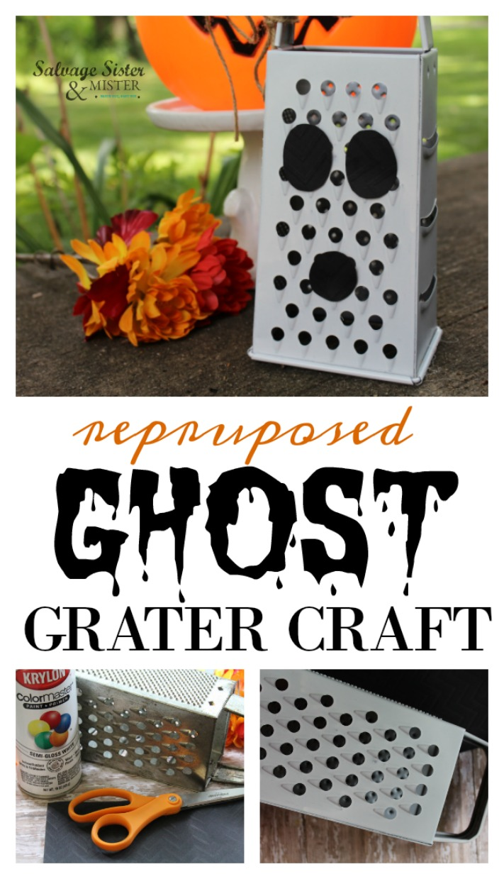 Turning an old kitchen tool into a fun Halloween decoration. This craft is easy to make and fun for kids and adults. Budget friendly holiday decor. Fall harvest decorations as well. Customize this craft however you like. Tutorial for repurposed ghost grater craft is found on salvagesisterandmister.com